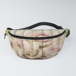 Shabby Chic Country Floral Rose Wood Fanny Pack