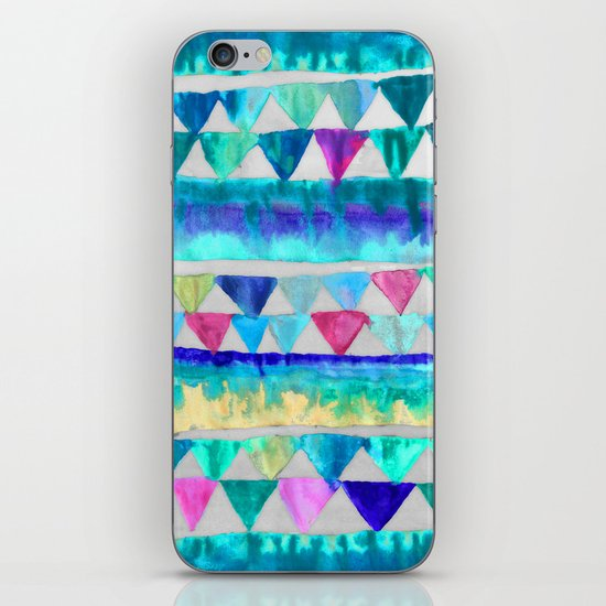 Bright Bunting - fun blue, pink & emerald green painted triangles iPhone & iPod Skin