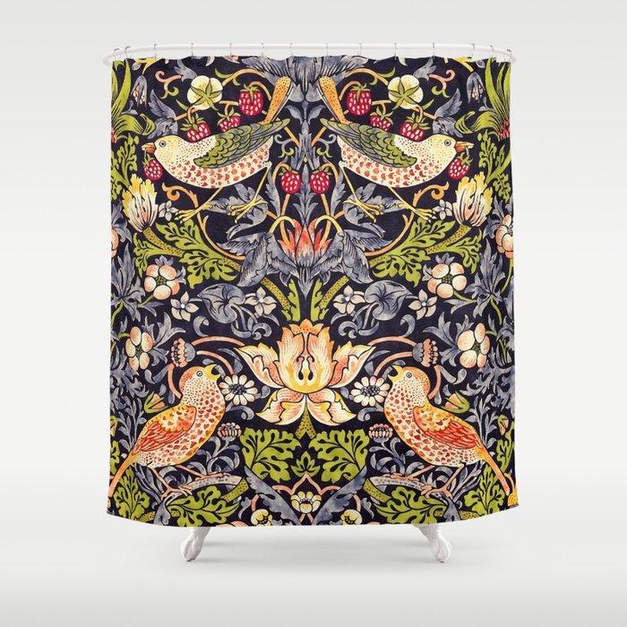 William Morris Strawberry Thief Art Nouveau Painting Shower Curtain