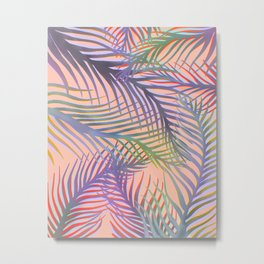 Palm Leaves Pattern - Purple, Peach, Blue Metal Print
