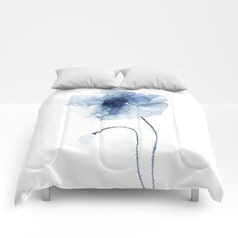 Blue Watercolor Poppies #2 Comforters