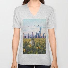 Astronaut in the Field-New York City Skyline Unisex V-Neck