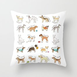 Breeds of Dog Throw Pillow