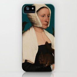 PORTRAIT OF A LADY WITH A SQUIRREL AND A STARLING - HANS HOLBEIN iPhone Case