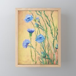 Bachelor Buttons, Flower Painting, by Faye Framed Mini Art Print