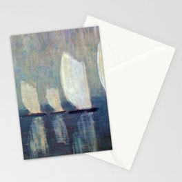 Sailboats on Mirrored Glass Seas nautical landscape by Mikalojus Konstantinas Ciurlionis Stationery Cards