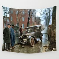 washington Wall Tapestries featuring Rainy Day, Washington, D.C. by Brown Eyed Lady
