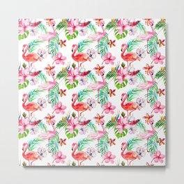 Hand painted blush pink coral watercolor tropical flamingo floral Metal Print