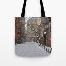 Snowy street Greenwich Village NYC Tote Bag