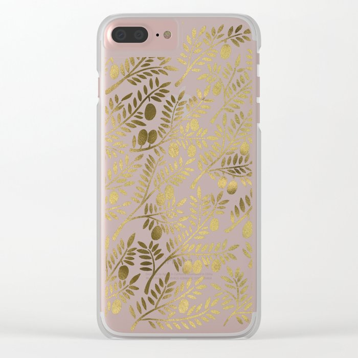 Gold Olive Branches Clear iPhone Case