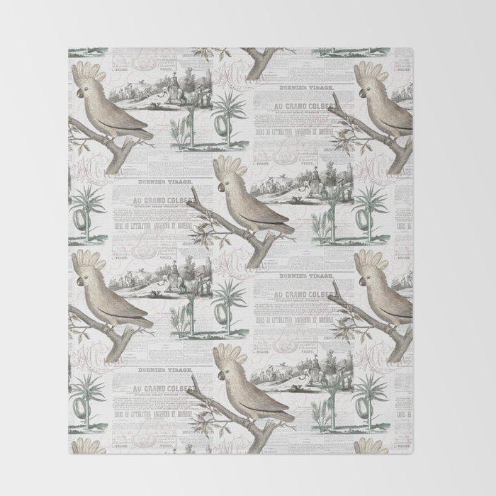 Paris Cockatoo Toile Throw Blanket