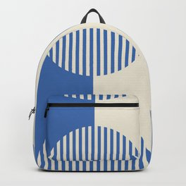 Contemporary Bold Blue Abstract Stripes & Circles Backpack