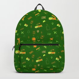 Live Travel Love Pattern - Green Backpack