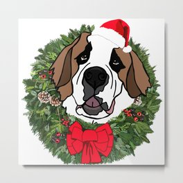 Sulley the Saint Berner does Christmas Metal Print