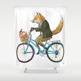 Fox goes to Tea (white) Shower Curtain