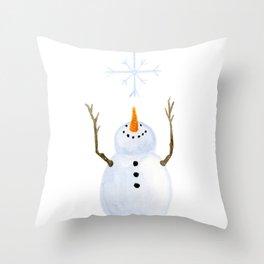 Snowman Catching A Snowflake Throw Pillow