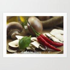 Fresh mushrooms specialties whit chili Art Print