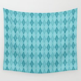 Textured Argyle in Blues Wall Tapestry