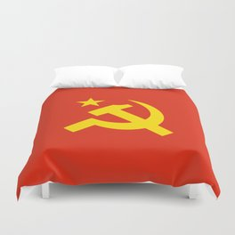 Communist Hammer & Sickle & Star Duvet Cover