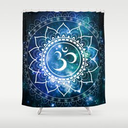 Om Mandala : Blue Green Galaxy Shower Curtain