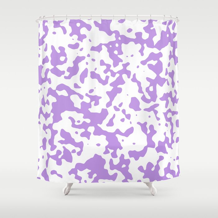 Spots - White and Light Violet Shower Curtain