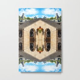 Surreal kaleidoscope pattern of old stoned covered market in France Metal Print