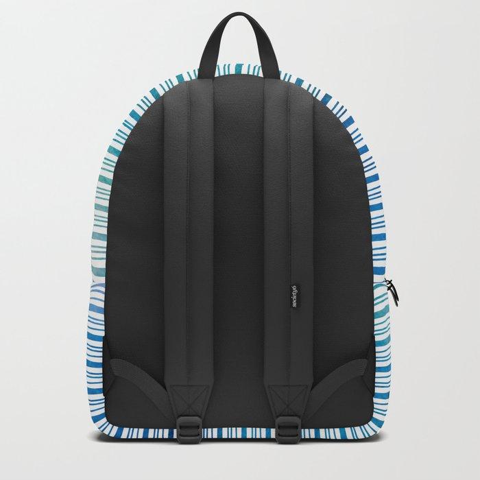 fine aqua handpainted stripes on clear white Backpack