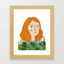 A girl and her plants Framed Art Print