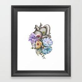 Blue Floral Heart Framed Art Print