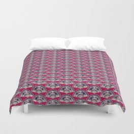 rows of Fans on deep coral Duvet Cover