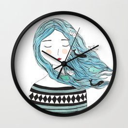 Whales in my hair Wall Clock