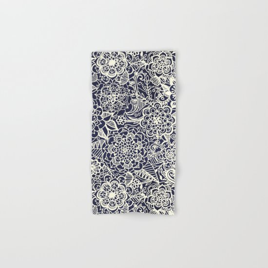 Lace on Nautical Navy Blue Hand & Bath Towel