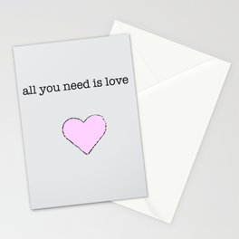 All You Need Is Love lyric art Stationery Cards