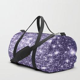Dark Grape Purple Sparkle Stars Duffle Bag