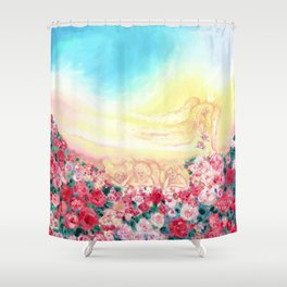 Angels and roses Shower Curtain