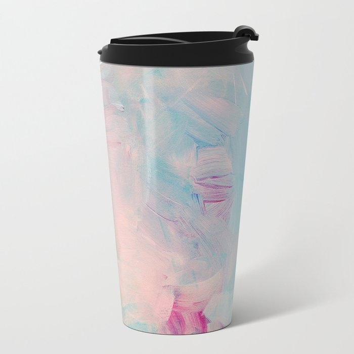 Abstract paint in pink Metal Travel Mug