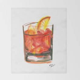 Negroni Cocktail Hour Throw Blanket
