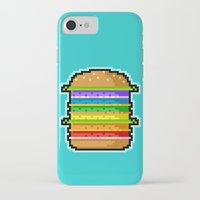hamburger iPhone & iPod Cases featuring Pixel Hamburger by Sombras Blancas Art & Design