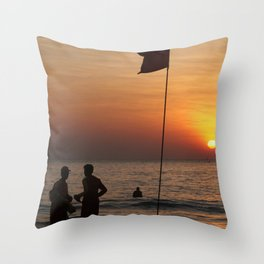 Life Guard Station at Sunset Palolem Beach Throw Pillow