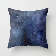 Night Sky Stars Galaxy | Watercolor Nebula Throw Pillow