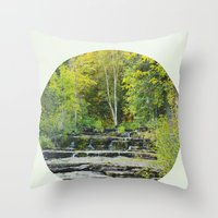fitzgerald Throw Pillows featuring fall leaves + f scott fitzgerald by lissalaine