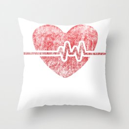 It's a Beautiful Day to Save Lives EKG heart Throw Pillow