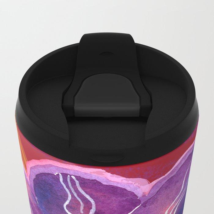Purple Flower on Red Metal Travel Mug
