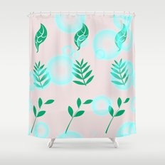 Green leaves with light Shower Curtain