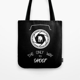 Anti-poaching Elephant for Wildlife Photographers White on Black Tote Bag