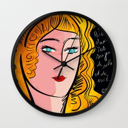 French Art Portrait with Poetry Wall Clock