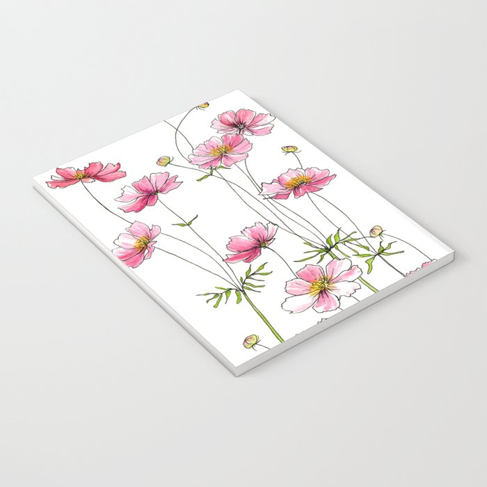 Pink Cosmos Flowers Notebook