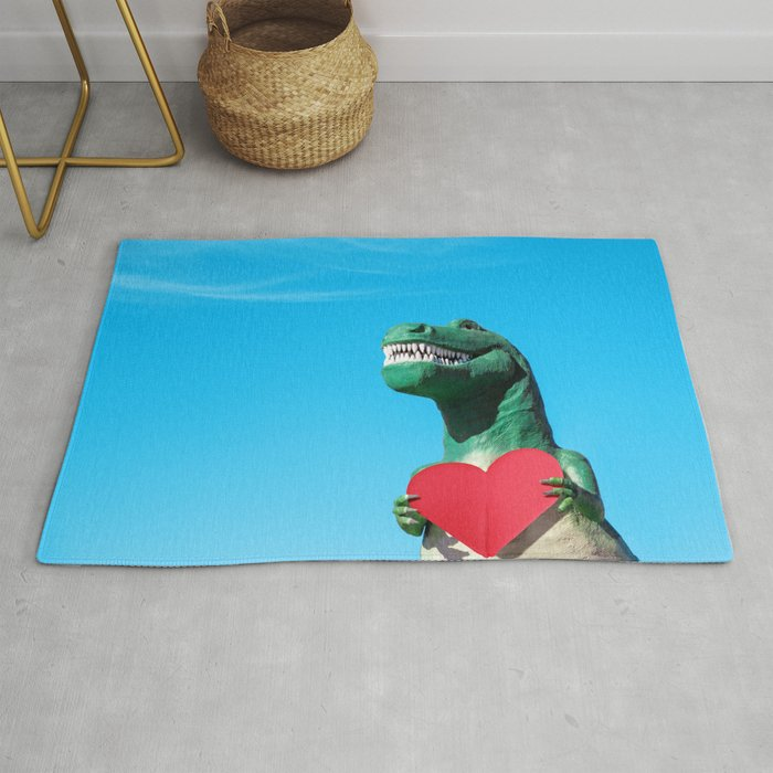 Tiny Arms, Big Heart: Tyrannosaurus Rex with Red Heart Rug