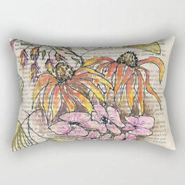 Warm toned flowers – watercolor illustration Rectangular Pillow