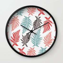 Inked Ferns – Red & Green Palette Wall Clock